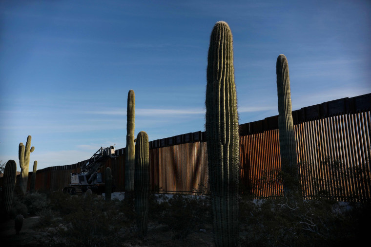 Image: The United States-Mexico border wall in Organ Pipe National Park south of Ajo, Arizona, on Feb. 13, 2020.