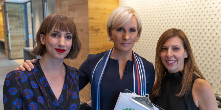 """From left to right:  Cosmopolitan Editor-in-Chief Jessica Pels, Know Your Value founder and """"Morning Joe"""" co-host Mika Brzezinski, clinical psychologist Dr. Gillian Galen."""