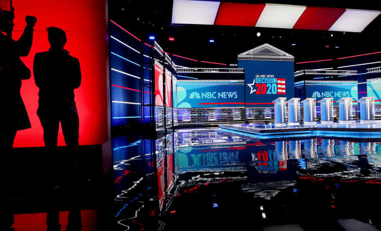Image: Stage preparation continues ahead of a Democratic presidential primary debate in Las Vegas on Feb. 18, 2020.
