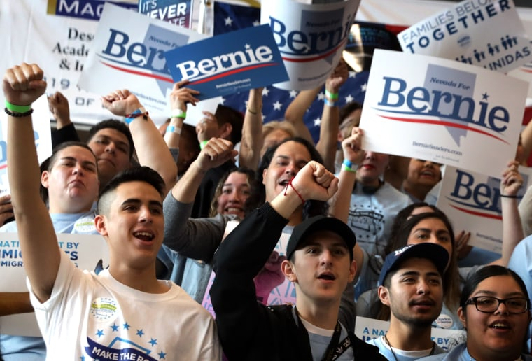 Image: Supporters cheer at a voting rally for Sen. Bernie Sanders, I-VT, in Las Vegas on Feb. 15, 2020.
