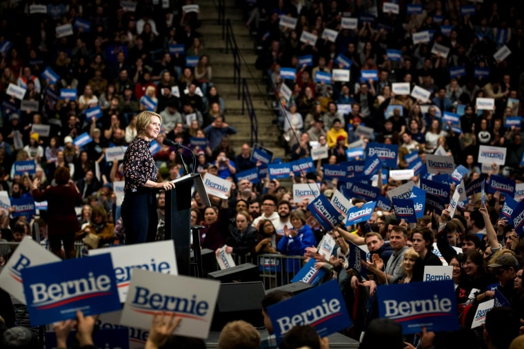 Image: Cynthia Nixon speaks to supporters of Sen. Bernie Sanders during a rally in New Hampshire on Feb. 10, 2020.