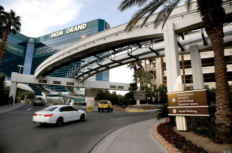 Cars drive into the MGM Grand Hotel and Casino in Las Vegas in January 2016.