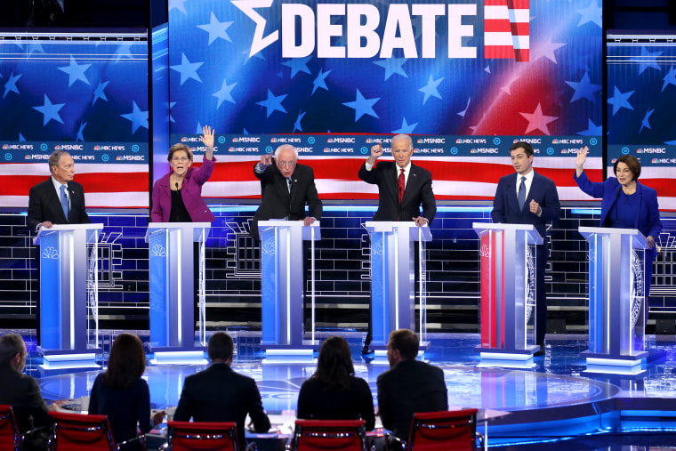 Image: Democratic Presidential Candidates Debate In Las Vegas Ahead Of Nevada Caucuses