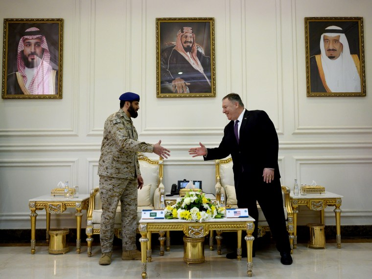 Image: Secretary of State Mike Pompeo greets Saudi Major General Shablan after visiting the Prince Sultan Air Base in Saudi Arabia on Feb. 20, 2020.