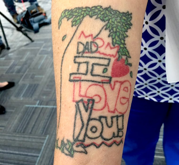"Tina Franke has a tattoo on her right arm of a doodle her daughter once drew that says ""Mom Dad I love you."""