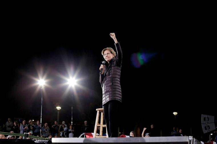 Image: Sen. Elizabeth Warren, D-Mass., speaks at a campaign event in Las Vegas on Feb. 21, 2020.
