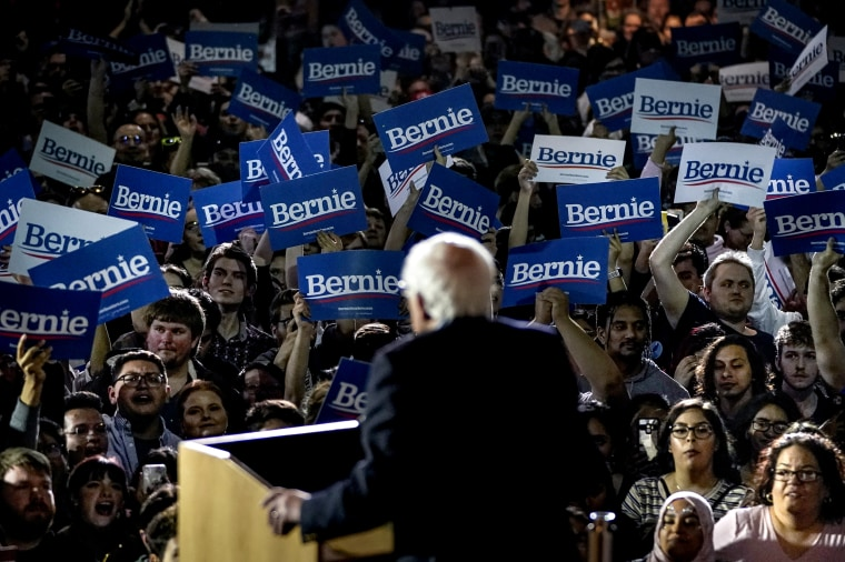 Image: Sen. Bernie Sanders, I-VT, speaks after winning the Nevada caucus while at a campaign stop in Texas on Feb. 22, 2020.