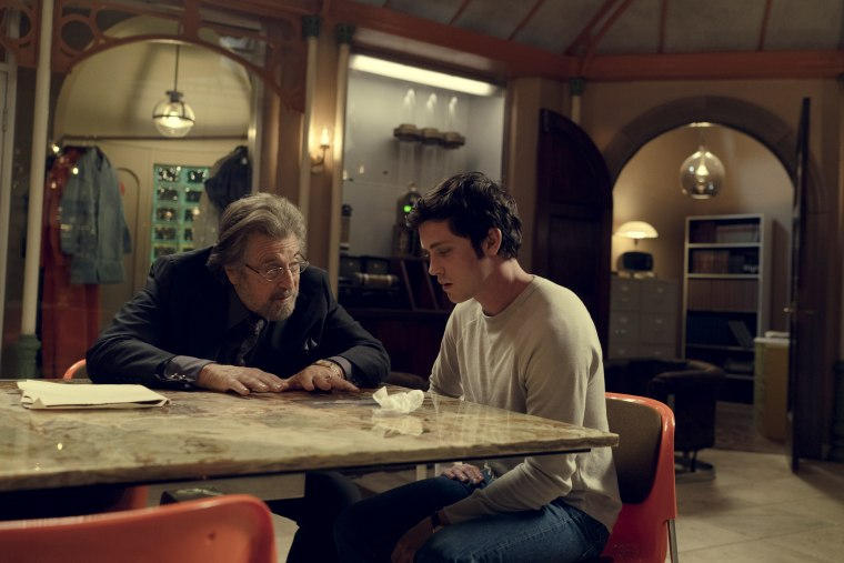 "Image: Al Pacino and Logan Lerman in a scene from Amazon's ""Hunters."""