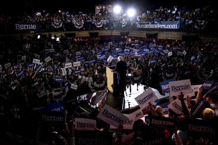 Image: Sen. Bernie Sanders, I-VT, speaks after winning the Nevada caucuses during a campaign rally in San Antonio, Texas, on Feb. 22, 2020.