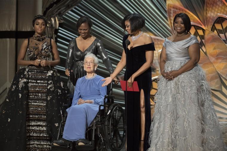 Image: Janelle Monae, Katherine Johnson, Taraji P. Henson, Octavia Spencer at the Oscars on Feb.  26, 2017.