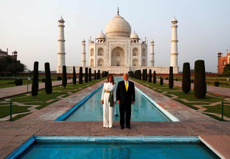 Image: President Donald Trump and first lady Melania Trump pose as they tour the historic Taj Mahal, in Agra, India
