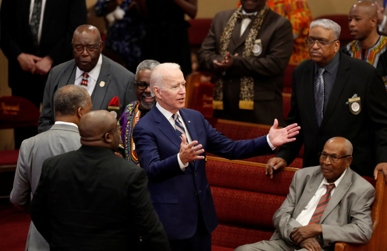 Image: Democratic U.S. presidential candidate and former U.S. Vice President Joe Biden gestures to the crowd during Sunday services at Royal Missionary Baptist Church in North Charleston