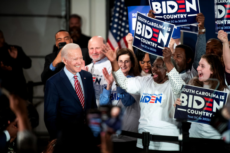 Image: Joe Biden arrives for a campaign launch party in Columbia, S.C., on Feb. 11, 2020.