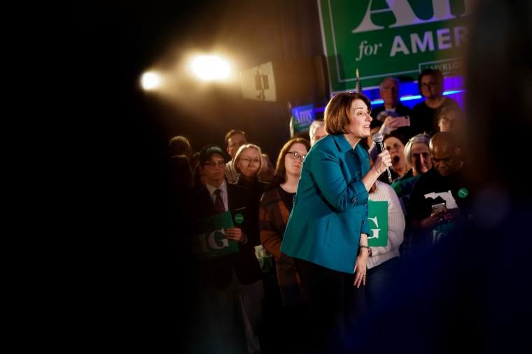 Image: Sen. Amy Klobuchar speaks at a campaign event in Des Moines, Iowa, on Feb. 1, 2020.