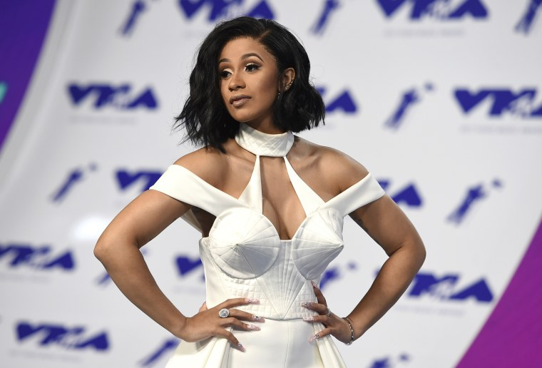Image: Cardi B arrives to the MTV Video Music Awards in Calif., in 2017.