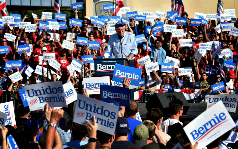 Image: Sen. Bernie Sanders speaks to supporters at a campaign rally in Los Angeles on Nov. 16, 2019.