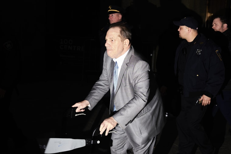 Image: Harvey Weinstein leaves Manhattan Criminal Court as jury deliberations begin on Feb. 18, 2020.