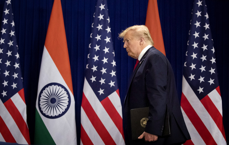 Image: President Donald Trump arrives for a news conference in New Delhi, India, on Feb. 25, 2020.