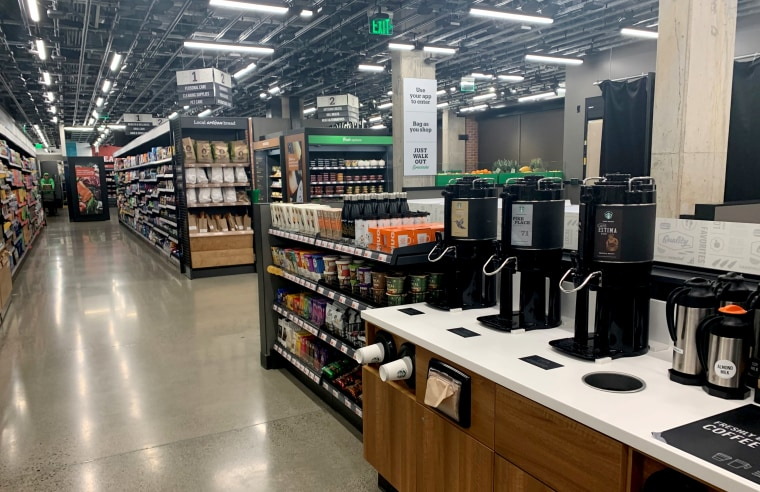 Image: The coffee station at the Amazon Go store in Seattle.