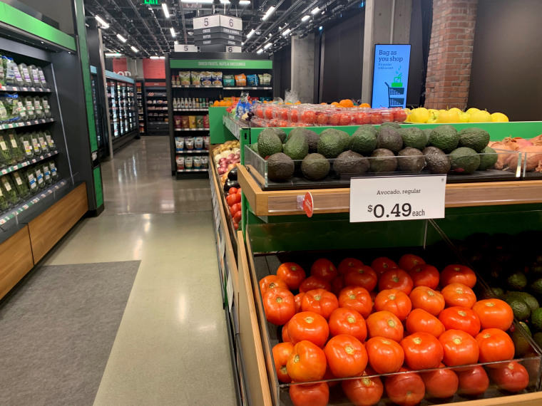 Image: Fresh produce at the Amazon Go store in Seattle.