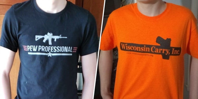 Image: Kettle Moraine High School in Wisconsin barred students from wearing pro-gun t-shirts.