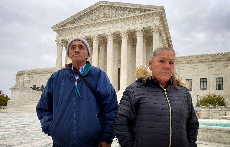 Image: Jesus Hernandez and  Maria Guadalupe Guereca, the parents of Sergio Hernandez Guereca, outside of the Supreme Court on Nov. 12, 2019.