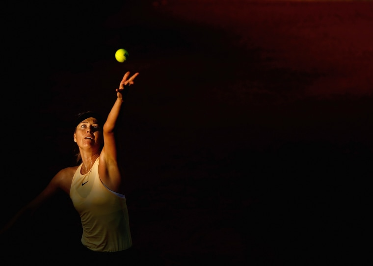 Image: Maria Sharapova serves during a match at Foro Italico in Rome on May 17, 2018.
