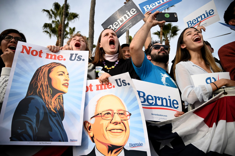 Image: Supporters cheer for Sen. Bernie Sanders at a rally in California on Dec. 21, 2019.