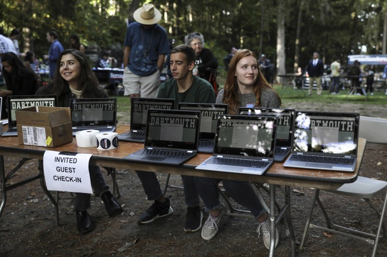 Image: Student volunteers man the tables at a campaign event for Democratic presidential candidate Sen. Bernie Sanders, I-Vt., Sunday, Sept. 29, 2019, at Dartmouth College