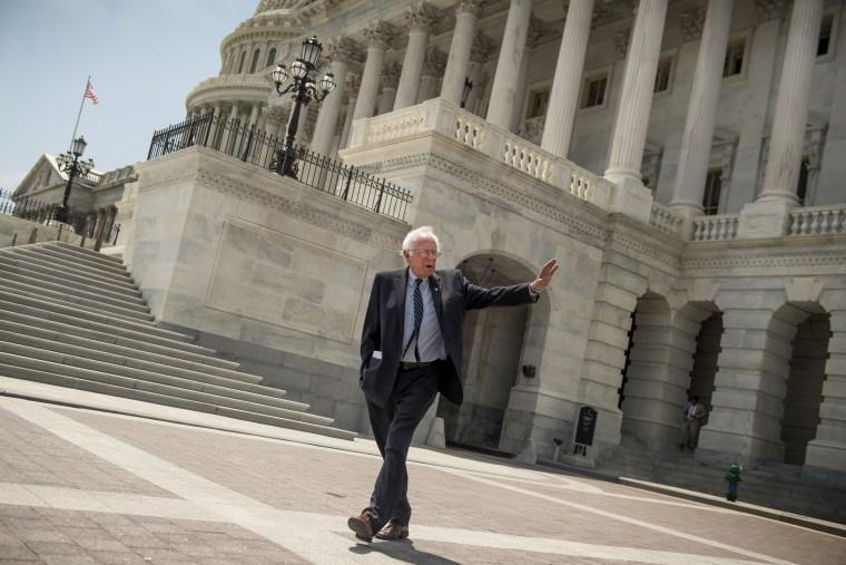 Image: Sen. Bernie Sanders, I-Vt., leaves the Capitol in 2017.