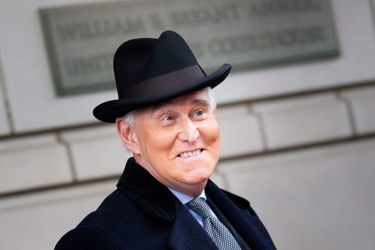 Image: Roger Stone leaves Federal Court after a sentencing hearing Feb. 20, 2020, in Washington.