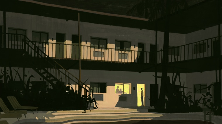 Illustration of man standing at motel room door while two men stand inside.