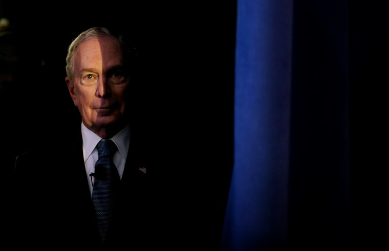 Image: Mike Bloomberg waits to speak at a rally in McLean, Va., on Feb. 29, 2020.