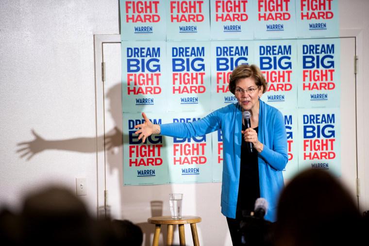 Image: Sen. Elizabeth Warren speaks to the crowd at an event in Columbia, S.C., on Feb. 29, 2020.