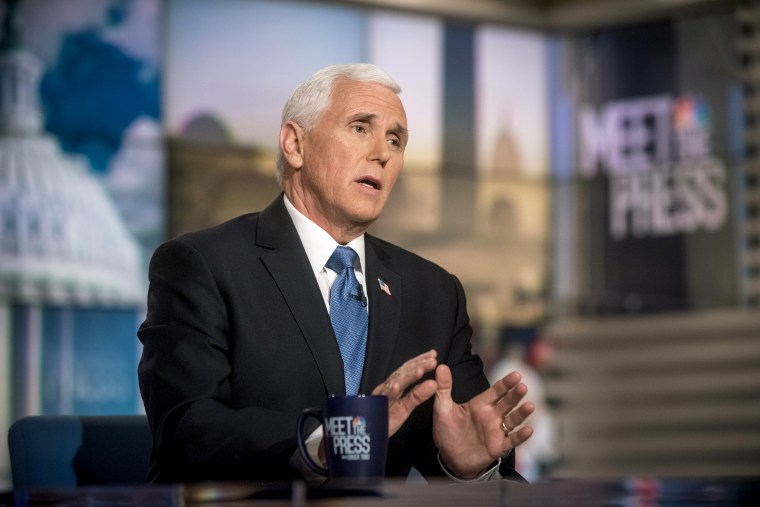 "Image: Vice President Mike Pence appears in a pre-taped interview on ""Meet the Press\"" on Feb. 29, 2020."