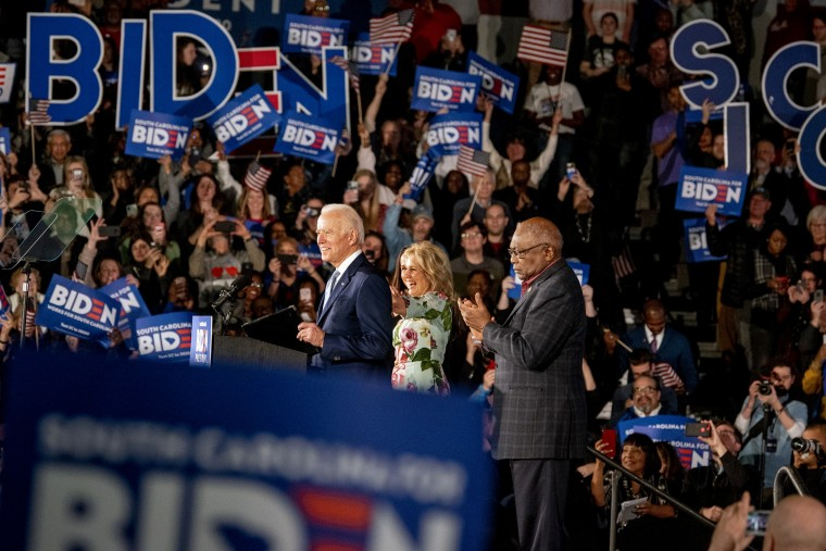 Image: Joe Biden speaks to supporters at a campaign rally in Columbia, S.C., on Feb. 29, 2020.