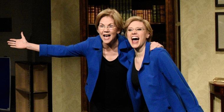 """Sen. Elizabeth Warren and Kate McKinnon on """"Saturday Night Live"""" on March 7, 2020."""