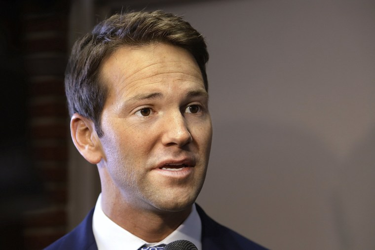 Image: Former Rep. Aaron Schock speaks to the media in Peoria, Ill., in 2015.