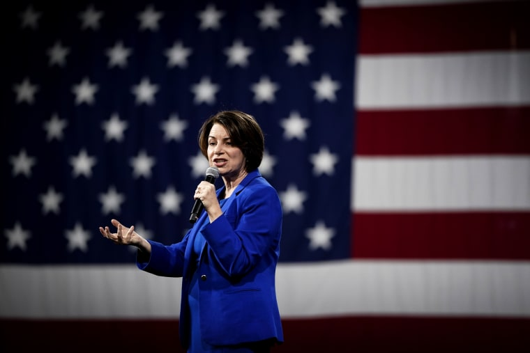 Image: Sen. Amy Klobuchar speaks at a forum in Concord, N.H., on Feb. 8, 2020.