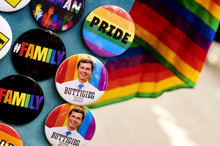 Image: Pete Buttigieg campaign buttons at a rally at Stonewall Inn in New York on June 28, 2019.