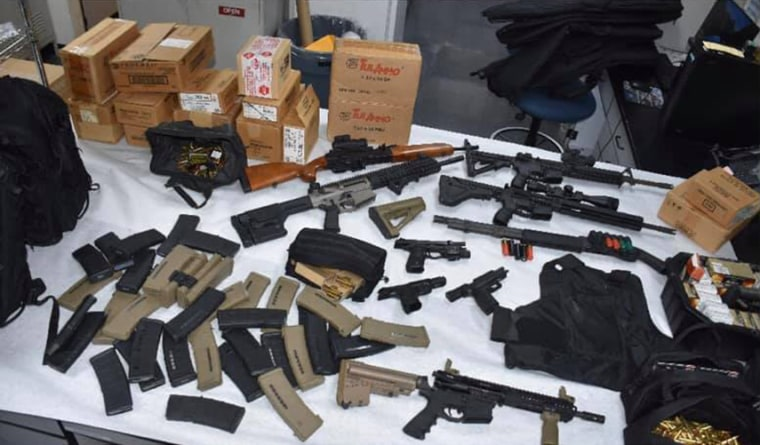 Sunnyvale officers discovered the suspect was the registered owner of four handguns and a rifle.