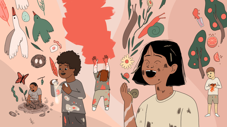 Illustration of messy kids.