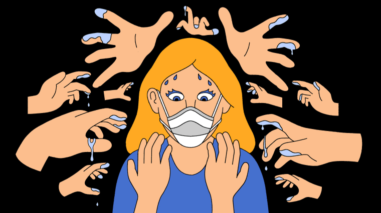 Illustration of woman wearing mask starting at her own hands while ghost hands surround her.