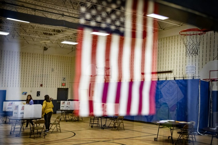 Image: Voters cast ballots at Armstrong Elementary School in Herndon, Va., on March 3, 2020.