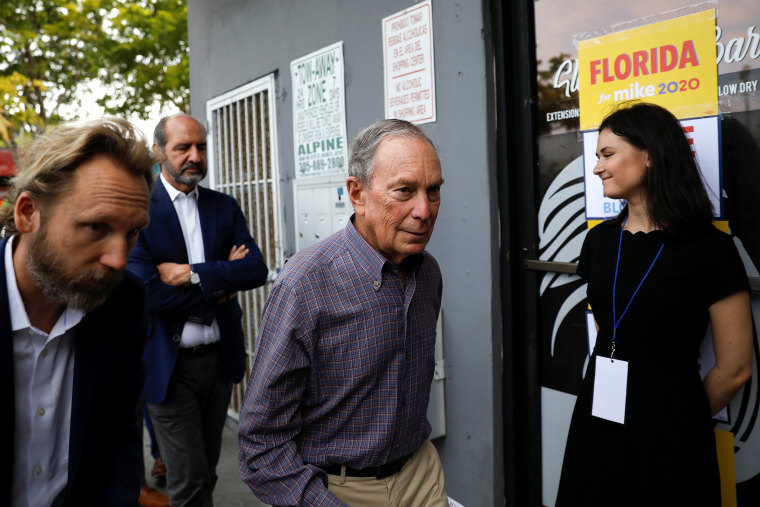 Image: Democratic presidential candidate Michael Bloomberg arrives at his campaign office in Little Havana, Miami