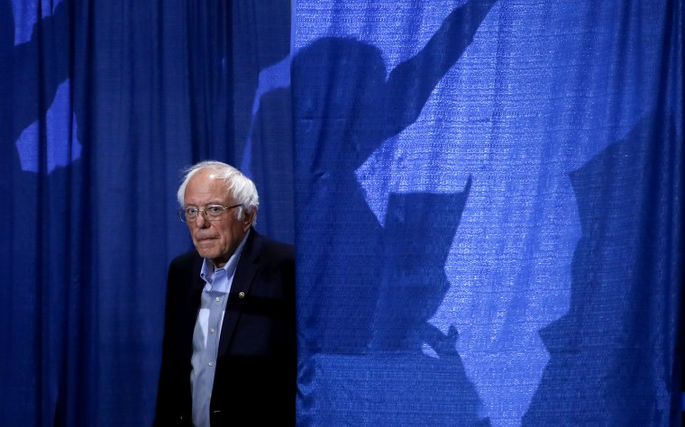 Image: Sen. Bernie Sanders arrives for an election rally in Essex Junction, Vt., on March 3, 2020.