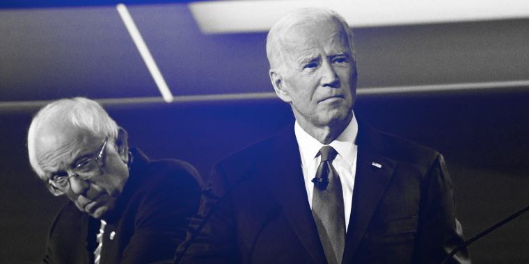 Image: Sen. Bernie Sanders and Joe Biden at a Democratic primary debate in Ohio on Oct. 15, 2019.