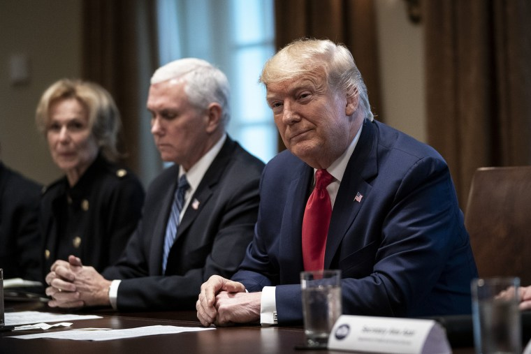Image: President Donald Trump leads a meeting with the White House Coronavirus Task Force and pharmaceutical executives in Cabinet Room