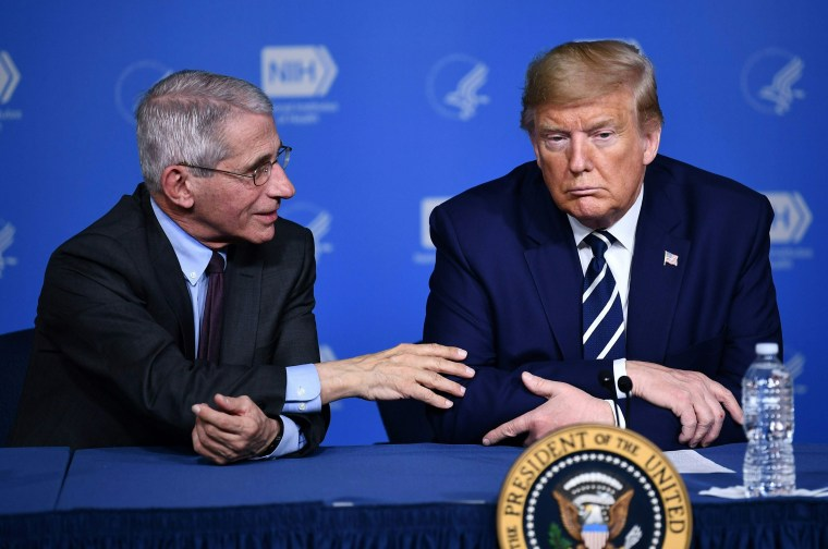 Image: President Donald Trump and Anthony Fauci, director of the NIH National Institute of Allergy and Infectious Diseases attend a meeting at the National Institutes of Health in Bethesda, Maryland