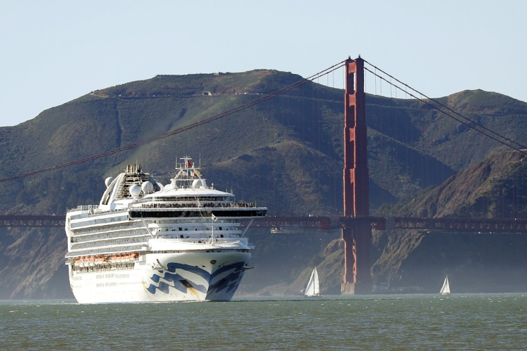Image: The Grand Princess cruise ship passes the Golden Gate Bridge as it arrives from Hawaii in San Francisco